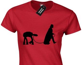 b5eda32d Darth Dog Walker Ladies T-Shirt Womens Funny Vader Star Trooper Storm Wars  Jedi Design Sith Solo Luke Yoda Film Movie Parody Present Gift