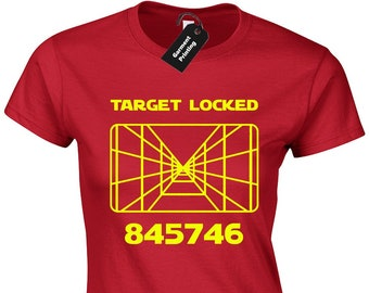943b4290f Target Locked Ladies T Shirt Womens Star Millennium Falcon Darth Jedi Wars  Luke Han Yoda X Wing Tie Fighter R2D2 C3PO BB8 Solo Present Gift