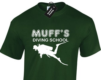 f2fc66c5 Muff's Diving School Mens T Shirt Unisex Funny Rude Adult Humour Joke  Design Meme Slogan Novelty Stag Hen Party