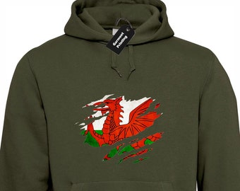 Welsh Flag Slash Hoodie Hoody Unisex Cool Wales Football Rugby Fan  Patriotic St David Cymru Dragon Design Present Gift 9d1359063
