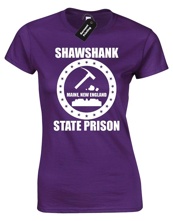 SHAWSHANK STATE PRISON Ladies Fitted Black T-Shirt redemption maine ALL SIZES