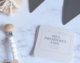 En stock - Cartes-étapes MES PREMIÈRES FOIS, 8 cartes recto-verso à photographier, 16 premières fois, cadeau naissance, beige