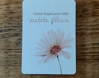 En STOCK  - Cartes-étapes pour bébé PETITE FLEUR, 18 cartes recto-verso à photographier, 36 étapes, Milestone card, cadeau naissance