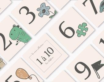 En pré-commande - LES CHIFFRES, 11 cartes recto-verso des chiffres 1 à 10 illustrées -