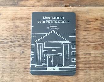 En STOCK  -  Cartes-étapes Petite école, Mes printemps, 6 cartes, recto-verso, 12 étapes illustrées, milestone cards, fille, gars
