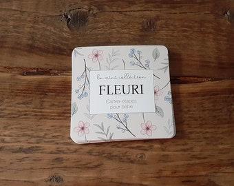 En STOCK - Cartes-étapes mensuelles pour bébé FLEURI, 8 cartes recto-verso à photographier, 16 étapes, cadeau naissance, fleurs, rose