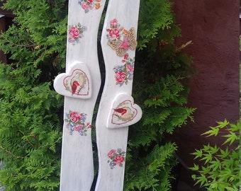 """Stele, Pillar, Aussendeko, front door, terrace, balcony, garden """"home"""" with roses in shabby chic look"""