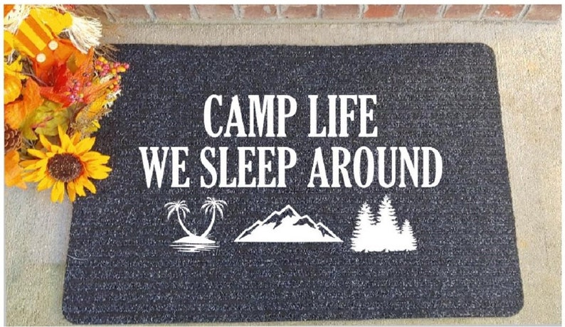 We sleep around camping doormat Funny camping quotes Camper rug Camper  decor Camper accessories RV accessories Outdoor camping mat