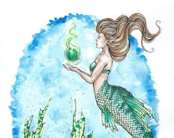 Green Mermaid Watercolour Print A4 A5