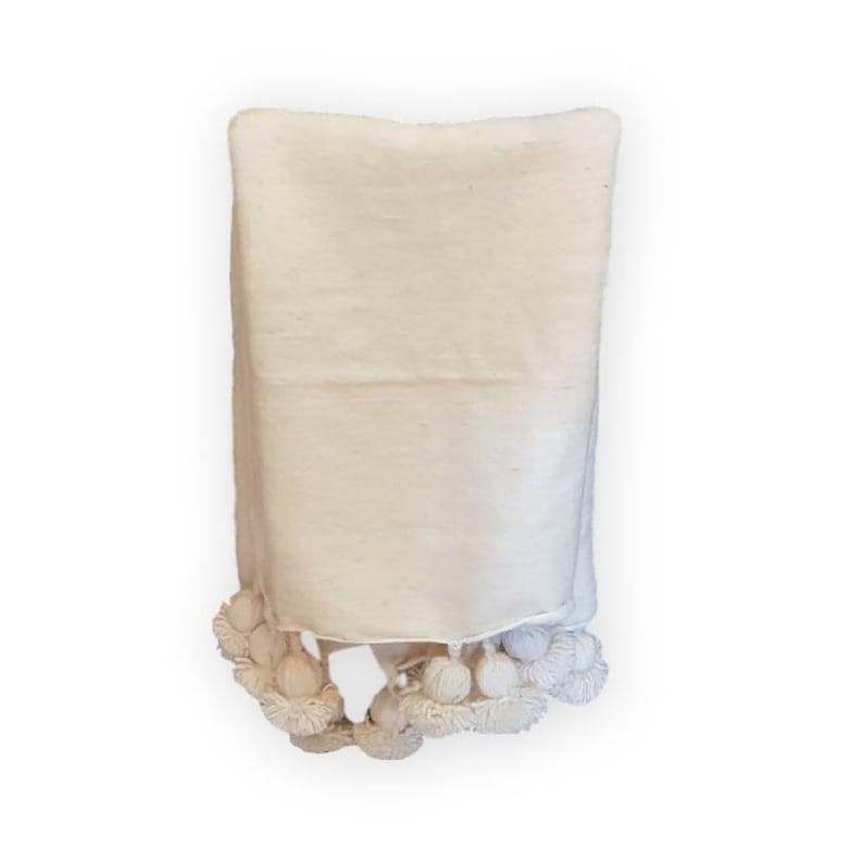 White Moroccan Wool Pom Poms Blanket Pom Pom Wool blanket decorative pillows,home d\u00e9cor.PC010