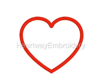 Heart outline embroidery design 6 SIZES  - heart embroidery design, heart mini embroidery design, satin outline heart embroidery design