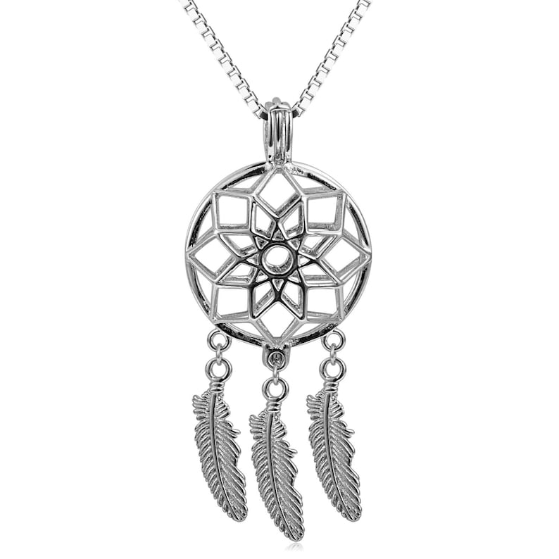 Dream Catcher Pearl Cage Pendant 925 Solid Sterling Silver
