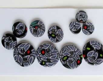Patterned buttons from Fimo