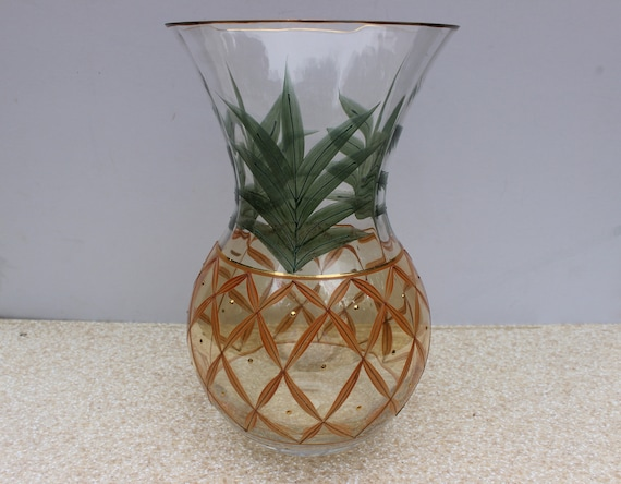 Romanian Hand Crafted Crystal Glass Pineapple Vasemade In Etsy