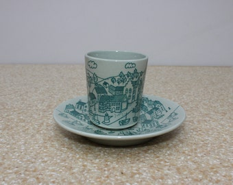 Nymolle Art Faience Demitasse Cup and Saucer Hoyrup Limited Edition 4006 /Danish Village Scene Cup and Saucer/Danish Tea Cup and Saucer Set