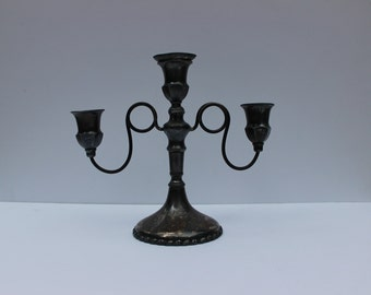 Vintage Silver Plated Candelabra/ Three Candle Candelabra/Silver Candelabra/ Vintage Candelabra/