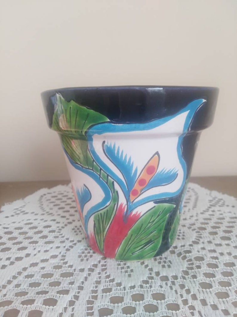 Hand Painted and Fired Terra Cotta PotFlower PotPainted PotGift for GardenerFlower loverGardening LoverFlowersHerb Garden