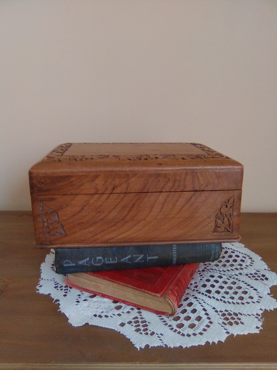 Vintage Hand Carved Wooden Velvet Lined With Removable Tray Etsy