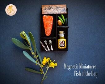 Handmade Tiny Food Magnets - Salmon Dinner Miniature