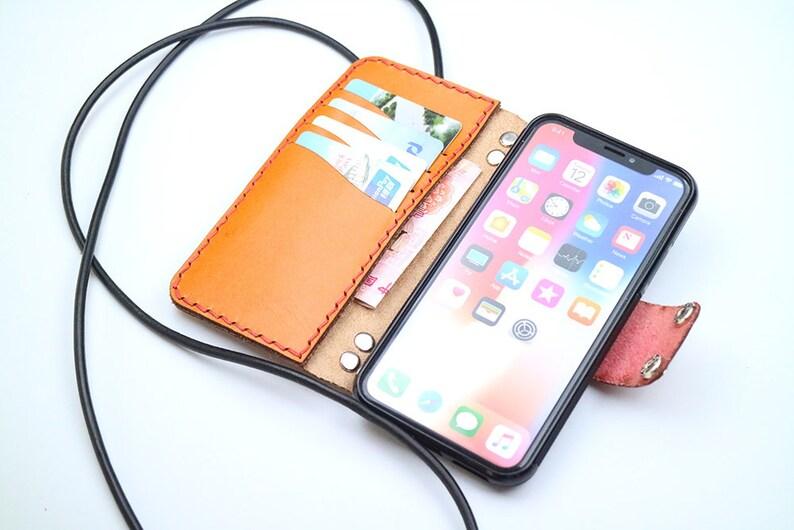 sale retailer dd230 1d74a iPhone X leather wallet case women & men custom initials shoulder strap  book cover Crossbody bag iPhone X leather wallet case-YELLOW