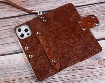 Wristlet Folio Flip Leather Cover Case iPhone 12 Pro/12 12 mini 2020 SE leather wallet case Free Custom Full Grain Leather Hand Holder