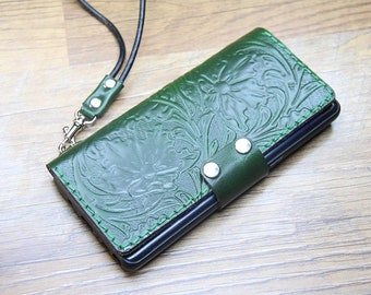 Handtooled iPhone 12 Pro max 12 mini Xs max/11/11 pro/11 pro max Leather Case - Personalized IPhone SE2020 wristlet case IPhone 6/8/7 plus