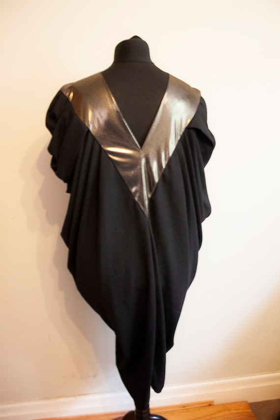 Unusual silhouette 1970s Cocoon Dress with gold co
