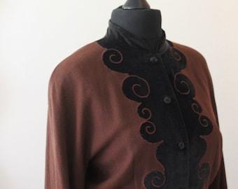 Kenzo Paris Lightweight Wool Jacket with Velvet Applique detail Size 12