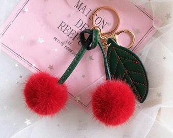 Cute Cherry Fur Ball Keychain Mink Fur Pompom Bag Charm Pendant Women s Bag  Bugs 94689c439