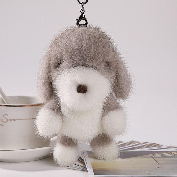 34fdd9c0bd5 Handmade Mink Fur Cute Dog Doll Fluffy Bag Charms Real Fur   Etsy