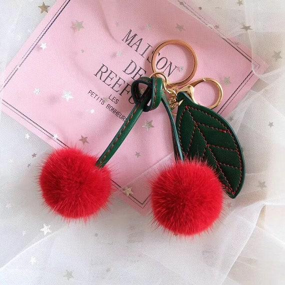 Real Fox and Rabbit Fur pompom Ball Pineapple Fruits Charm Bag Pendant Keychain