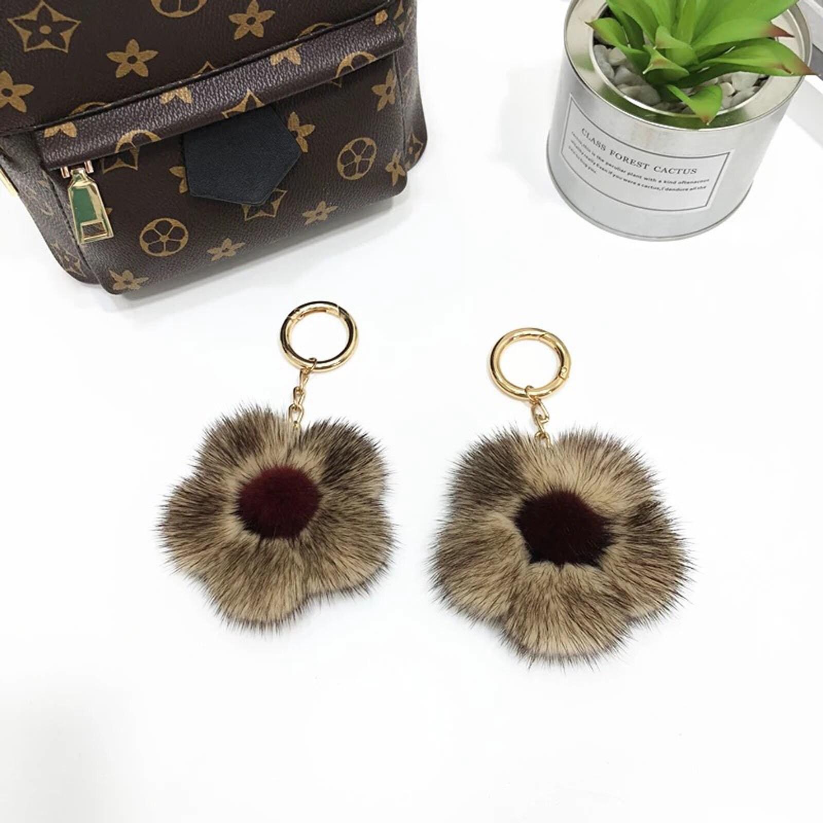 886f6531309 Gorgeous Mink Fur Pompom Cherry blossoms Bag Charm Pendant Fur   Etsy