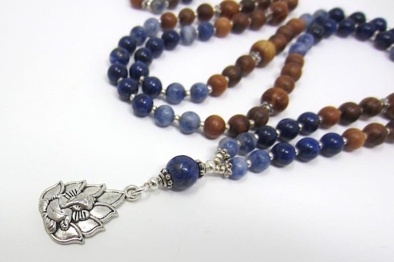 Elephant God Necklace Sandalwood Necklace Long Elephant Necklace Lapis Lazuli Necklace Ganesha Mala Necklace Long Spiritual Necklace
