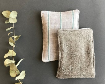 100% natural gray linen unsponge for a zero waste kitchen. Multipurpose washable, reusable sponge. Eco friendly, handmade dish wash cloth.