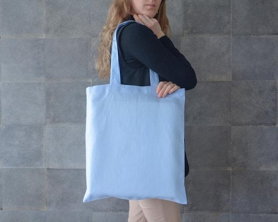 Summer Tote Bag Linen Market Bag Brown and Blue Reusable Bag Large Tote Bag Shopping Bag Linen Beach Bag Grocery Bag Kitchen Gifts