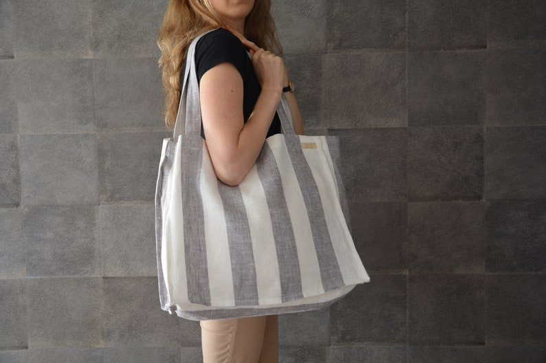 b16220e3ea1 Large linen beach bag with grey and white stripes. Eco friendly vegan  canvas tote bag. Stylish boho summer shoulder bag with long handles