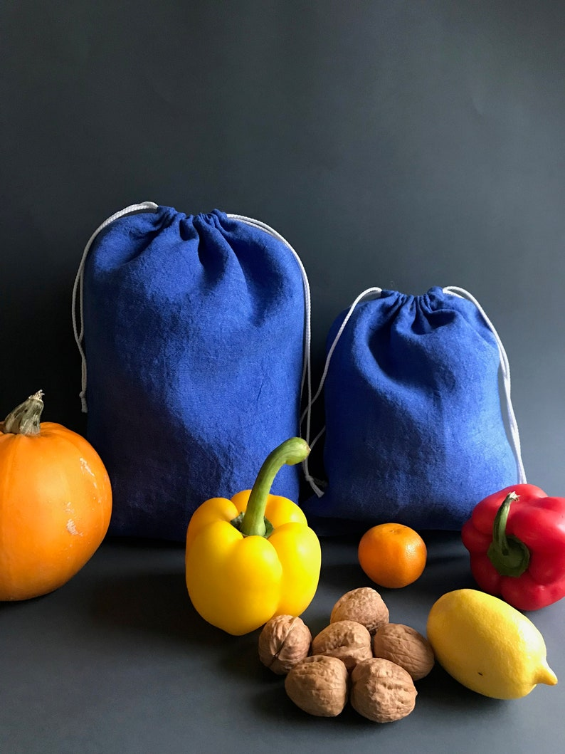 grocery. fruit and vegetables Blue zero waste reusable produce bags vegan food organic cotton linen drawstring bag for nuts beans bread