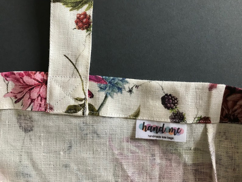 Eco-friendly mothers day gift from daughter Special gift for mom Floral linen tote bag with pink and purple aster flowers Zero waste bag.