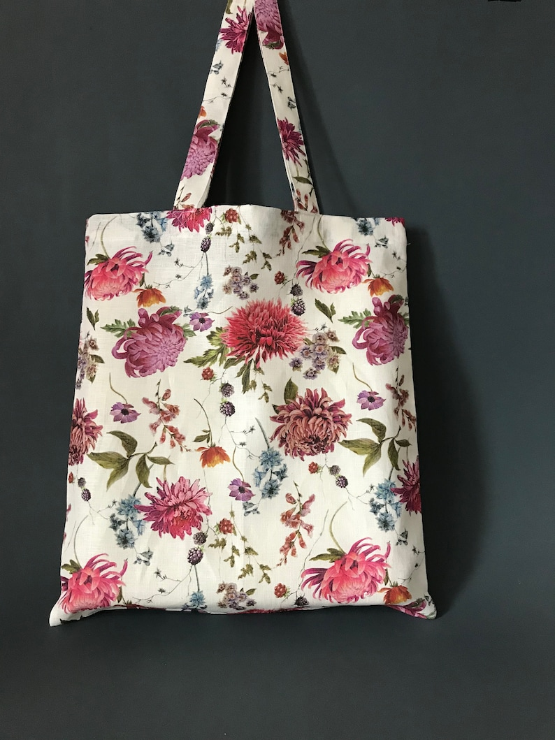 Eco-friendly mothers day gift from daughter Floral linen tote bag with pink and purple aster flowers Zero waste bag. Special gift for mom