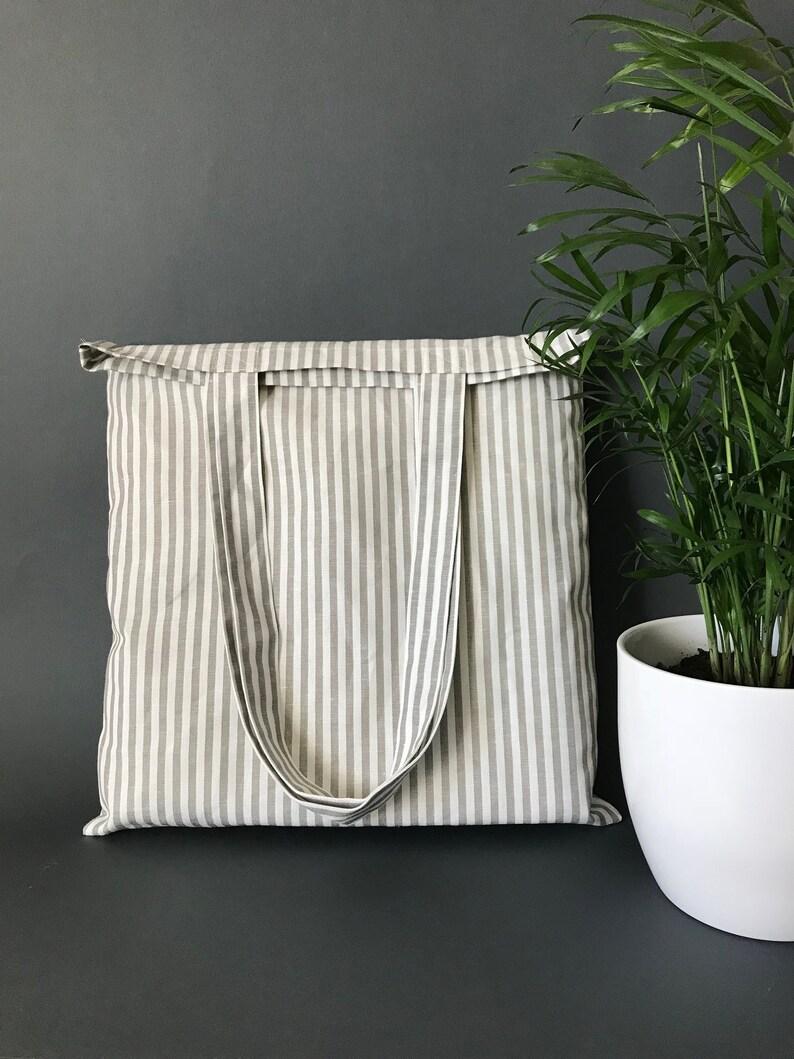52c3b1fe7abc Vegan tote bag canvas with grey and white stripes. Zero waste