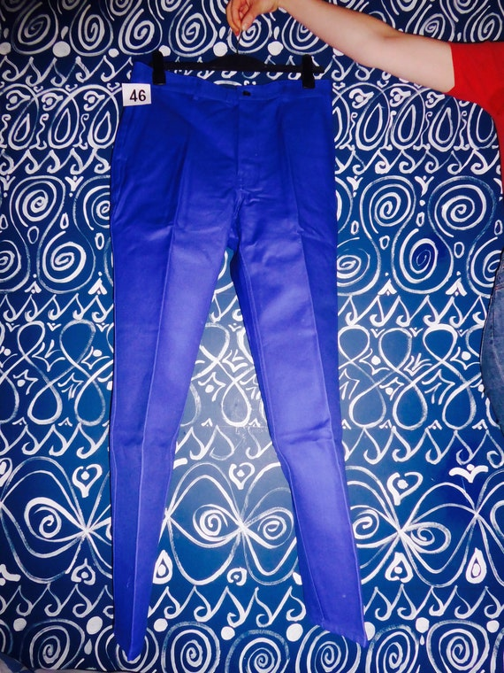 90s Deadstock French Work Trousers, Mid Blue