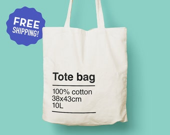 5ce7a0301 Eco Design Tote Bag / Basic Tote Bag / Long Handles / Eco Gift Idea /  Original Design Cotton Tote / Heavy duty Canvas Tote Bag