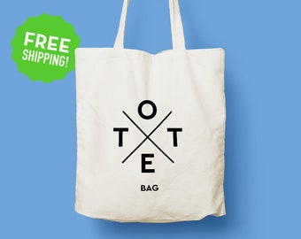 73834337e4 Hipster Logo Tote Bag   Cool Tote Bag   Long Handles   Typography   Original  Design Cotton Tote   Canvas Tote