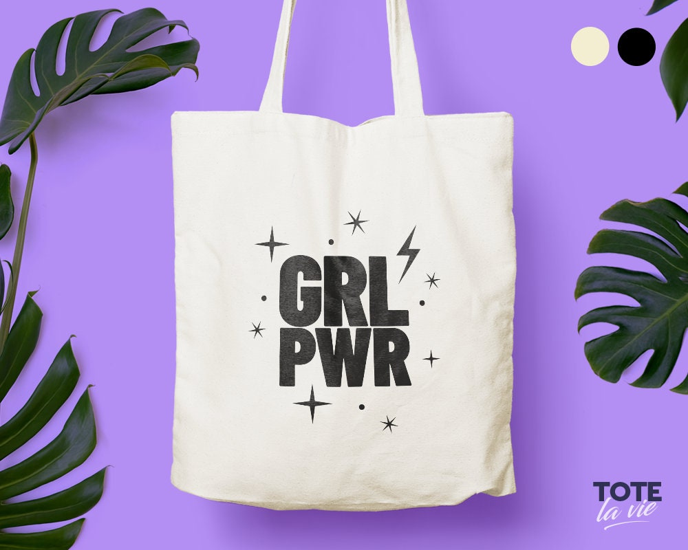 Girl Power Crown Large Organic Tote Bag
