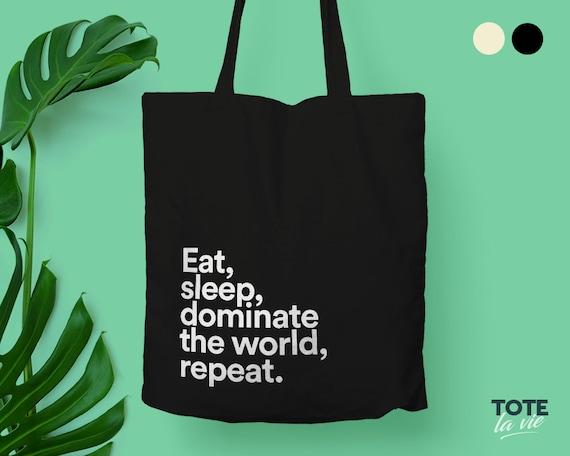 Tote Bag With Zip Eat Sleep Shop Repeat