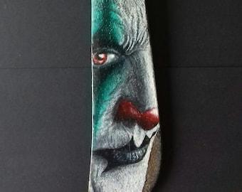 Freaky clown - painting on vintage machete