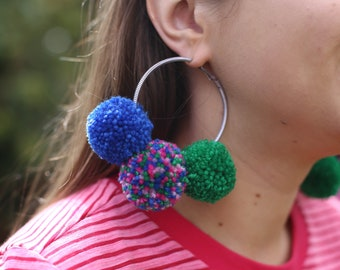Pom Pom Hooped Earrings.