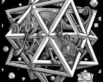 MC Escher /'Mosaic II/' FINE ART PRINT Escher Art Surreal Size 50cm x 50cm