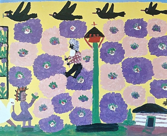 Clementine Hunter Art Print Uncle Tom In The Garden Bookplate Print 1988 African American Art Frame Ready