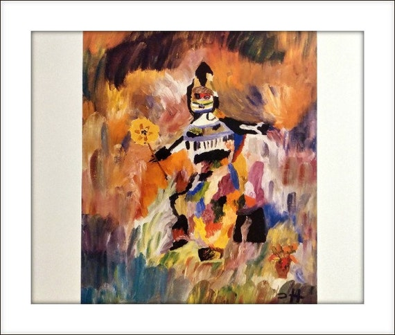 Clementine Hunter Print Print Flower Garden Abstract African American Art Matted To Fit Frame 11 X 14